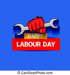 Happy labour day vector label with strong red fist on blue...