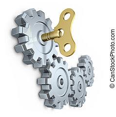 Clockwork key in the gear mechanism