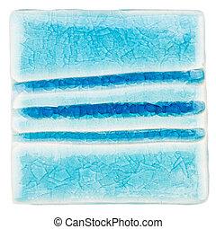 Handmade glazed ceramic tile - Blue lined handmade glazed...