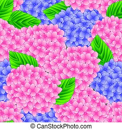 Pink and Purple Hydrangea Flower Seamless Background. Vector...
