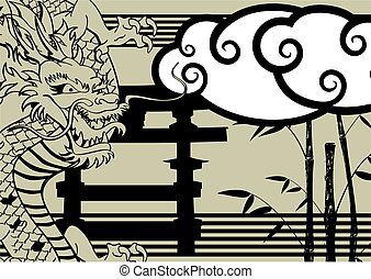 asian dragon baboo background tattoo