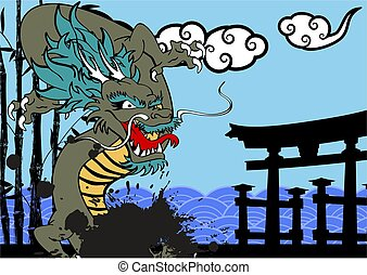 asian dragon clouds background