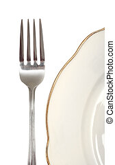 fork and plate, photo on the white background