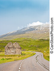 Along this road - Scotland, Sutherland. Road prospective,...