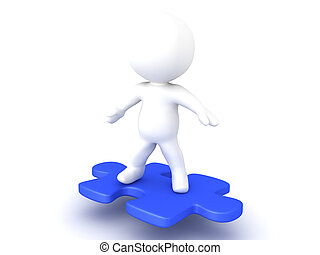3D Character riding on flying puzzle piece. This image has a...