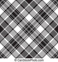 Black check diagonal plaid seamless pattern