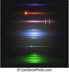 Abstract light. Colorful VECTOR set of glowing lines. Different colors