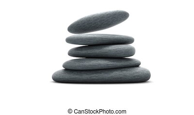 Stones isolated on white slowmotion - 3d animation with HQ...