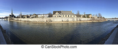 Old mill along Grand River, Cambridge, Ontario, Canada - The...