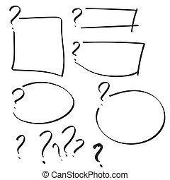 Set of vector question mark with text box hand drawn. Sketch...