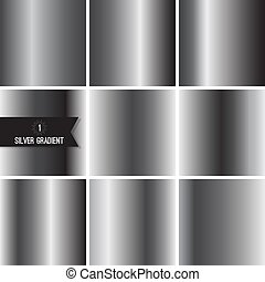 Set of silver foil texture background. Collection grey,...