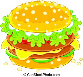 Big tasty sandwich - Vector illustration of an appetizing...