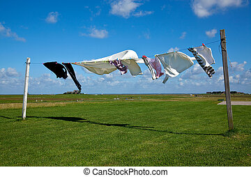 laundry drying on clothes line against a blue sky - wet...