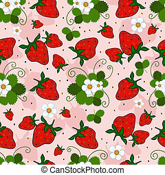 Pink repeating pattern with a strawberry, leaves and flowers...