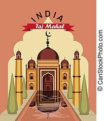 India vintage poster - Vector illustration vintage travel...