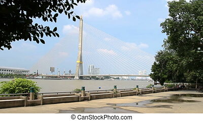 Bhumibol Bridge also known as the Industrial Ring Road...
