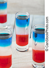 Patriotic Red White and Blue Shots for 4th of July