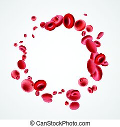 Isolated red streaming blood cells. - Red 3d streaming blood...