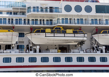 view of cruise line ship balcony stateroom and lifeboats, Cadiz, Andalusia, Spain