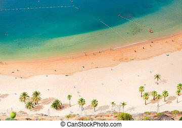Las Teresitas beach, Tenerife - aerial birdeye view of Las...