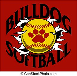 bulldog softball team design with ball and paw print ripping...