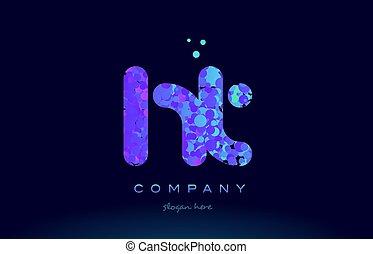 ht h t bubble circle dots pink blue alphabet letter logo...