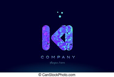 ki k i bubble circle dots pink blue alphabet letter logo...