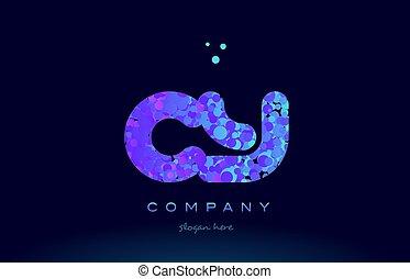 cy c y bubble circle dots pink blue alphabet letter logo...