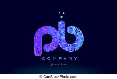 pb p b bubble circle dots pink blue alphabet letter logo...