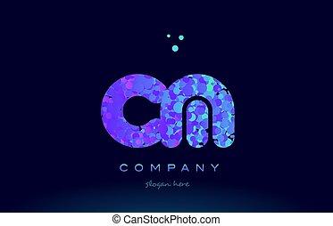 cm c m bubble circle dots pink blue alphabet letter logo...