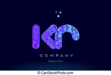 kr k r bubble circle dots pink blue alphabet letter logo...