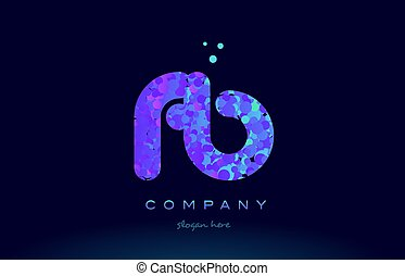 fb f b bubble circle dots pink blue alphabet letter logo...