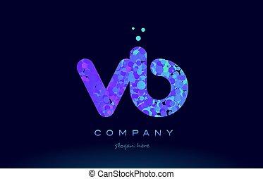 vb v b bubble circle dots pink blue alphabet letter logo...