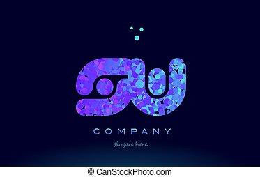 sw s w bubble circle dots pink blue alphabet letter logo...