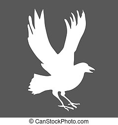 vector silhouette ravens on gray background