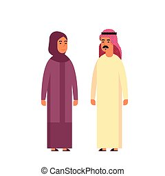 Muslim Couple People Talking Business Man and Woman Traditional Clothes Arabic
