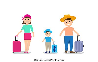Family on vacation with suitcases. Vector Illustration.