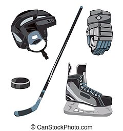 Vector hockey icons set in flat style. Ice equipment collection, puck, stick etc. Sport gear images for clubs etc.