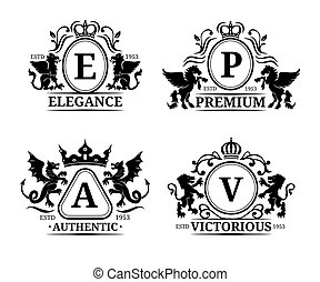 Vector monogram logo templates.Luxury letters design.Graceful vintage characters with animals silhouettes illustrations.