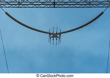 high-voltage electric line - Reinforced concrete and metal...