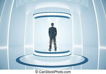 Teleporting businessman - Back view of businessman inside...