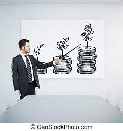 Money concept - Young businessman in conference room...