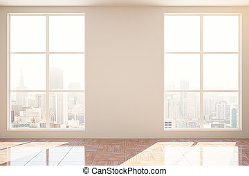 Unfurnished interior with blank wall - Unfurnished interior...