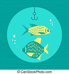 Fishing emblem concept - Fishing emblem. Freehand drawn...