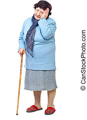Elderly woman with hard life - Worried woman in stick with...