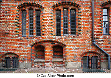 Facade of Old Town Hall in Hannover, Germany. - Windows and...