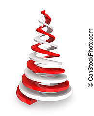 Twisted red and white spirals stylized as pine tree....