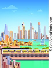 Subway Over City Skyscraper View Cityscape Background Skyline