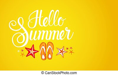 Hello Summer Season Text Banner Abstract Yellow Background...