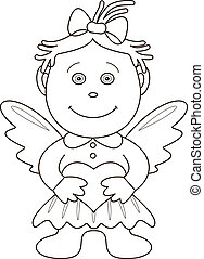 Girl-angel with heart, contours